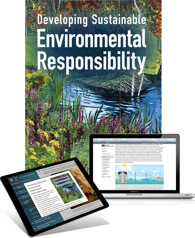 Trubook cover of Developing Sustainable Environmental Responsibility plus sample pages of textbook on laptop and ipad