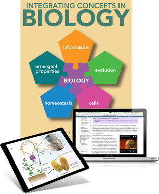 Trubook cover of Integrating Concepts in Biology plus sample pages of textbook on laptop and ipad