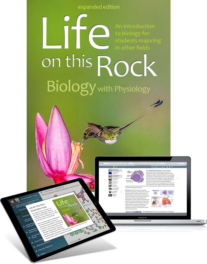 LOTR: Biology with Physiology - trubook cover image with iPad and laptop
