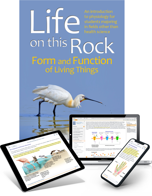 LOTR: Form and Function of Living Things - trubook cover image with iPad and laptop